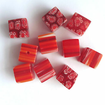 40 Red Millefiori Glass 10MM Cube Beads Jewellery making