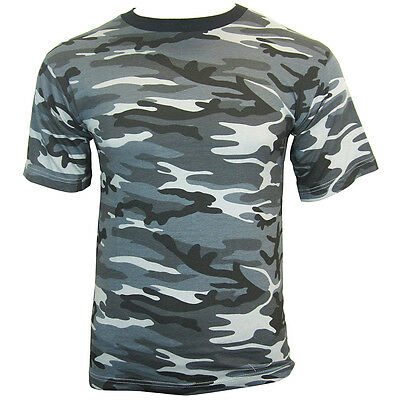 DARK CAMO Cotton Military T-Shirt - ALL SIZES - Army Camouflage Style Top New