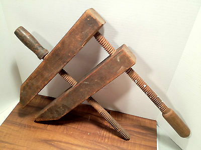 Antique Wood Clamp Vise - No Visible Maker Markings