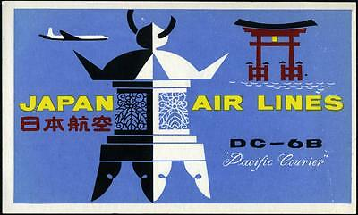 JAPAN AIRLINES - Vibrant Old Luggage Label, circa 1955