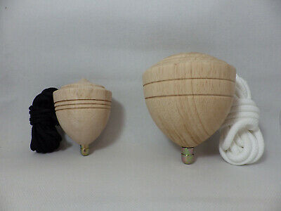 Traditional Taiwan Chinese Wood Spinning Top 2x Set Large Medium