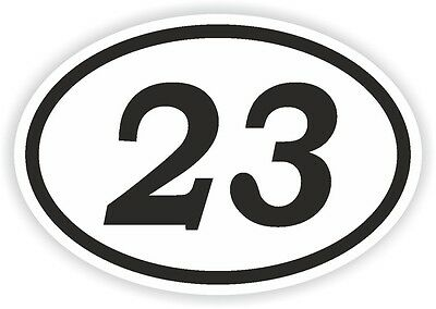 23 TWENTY-THREE NUMBER OVAL STICKER bumper decal motocross motorcycle Aufkleber