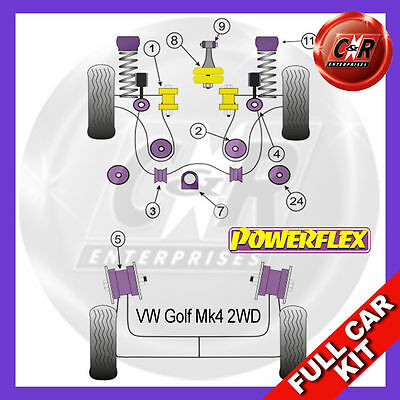 VW Golf Mk4 2WD (1997 - 2004) Powerflex Complete Bush Kit