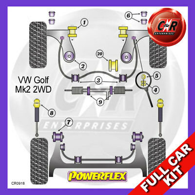VW Golf Mk2 2WD 85-92 Powerflex Full Kit Power Steering, Lower Engine Mount Bush