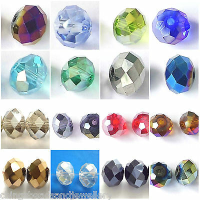 60 Quality Crystal Glass 8x6mm Faceted Rondelle Beads All Colours