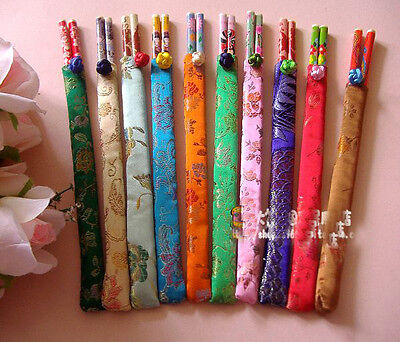 Wholesale10pairs Chinese Handmade Bamboo Chopsticks With Silk Cover