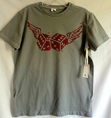 JOIE CALIFORNIA Cotton Men's WINGED DICE Grey or Cream T-Shirt/Top S/M/L/XL