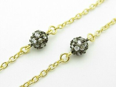 "18K Yellow Gold Silver Diamond Set White Sapphire 36"" Vintage Long Wrap Necklace"