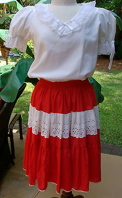 2 Pc Kate Schorer Red & White Lace Square Dance Skirt w/White LaceTrim Blouse S