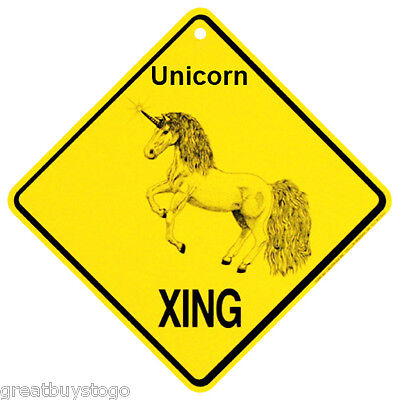 Unicorn Xing caution  Crossing Sign mystical Gift