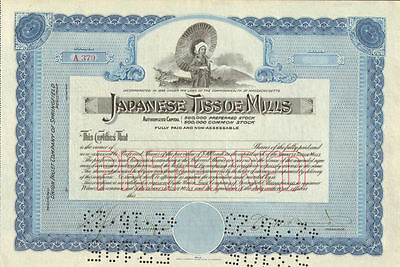 Japanese Tissue Mills > Japan stock certificate share