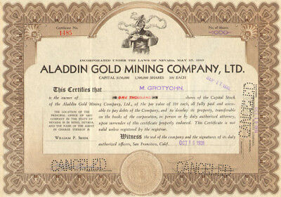 Aladdin Gold Mining Company > 1931 Nevada stock certificate issued 1,000 shares