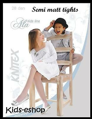 Girls White Plain Tights Shiny Gloss Wedding Communion Bridesmaid Hosiery 20 DEN