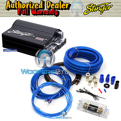 pkg STINGER SPC505 5 FARAD CAPACITOR & 0 GAUGE GA AMP WIRE INSTALL AMPLIFIER KIT