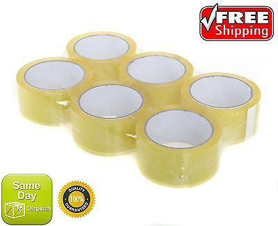 6 ROLLS OF CLEAR CELLOTAPE PACKAGING PARCEL TAPE 48mm x 66m 50mm