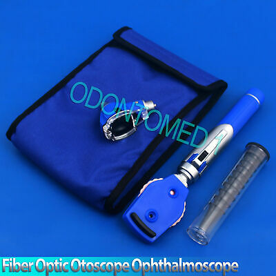 Fiber Optic Otoscope Ophthalmoscope Examination Led Diagnostic Ent Set Blue