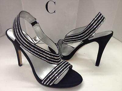 Caparros Tyra black satin with clear rhinestones dress sandals shoes New In Box