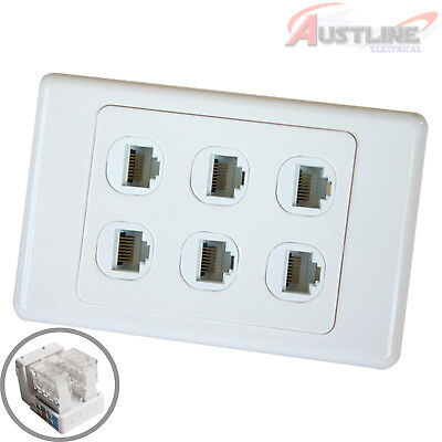 RJ45 Cat6 6Port DATAMASTER® Wall Plate with 6Gang Network LAN Jack dw6C90