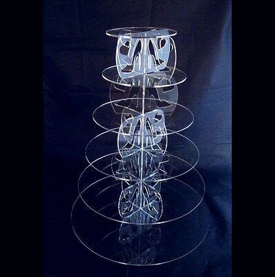 6 Tier Round Acrylic High Heels & Hearts Wedding & Party Cake Stand