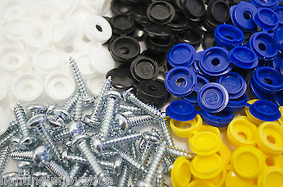 24 x NUMBER PLATE CAR FIXING FITTING KIT SCREWS & CAPS INCLUDING BLUE CAPS
