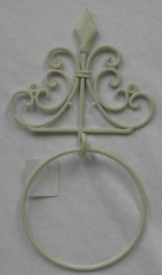 Rustic Country French Provincial Metal Towel Ring In Cream For Bathroom, Kitchen