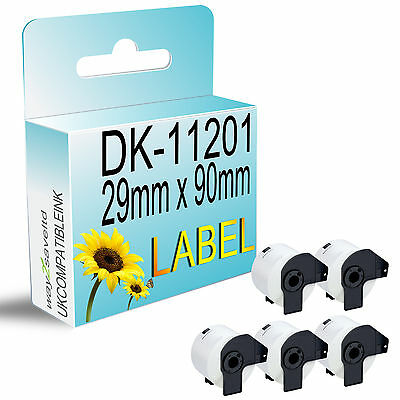 5 ROLL compatible with DK11201 DK 11201 BROTHER ADDRESS LABELS 29mm x 90mm