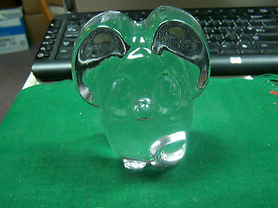 """Large Clear Crystal Mouse Paperweight   Approx 4"""" x 4""""  Heavy Piece  Cute Mouse"""