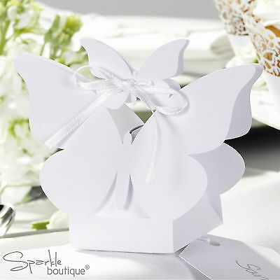 Butterfly Favour Boxes in White or Ivory x 10 - Perfect for Wedding or Party!