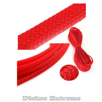 RED PET Expandable Braided Cable Sleeving (2mm) --  1 meter length.