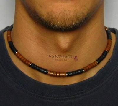 AUSTRALIA WAVE HUNTERS Mens Beaded Surfers Necklace Perfect Choker Sport Tribal