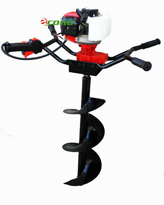 """Two Man 71cc Gas Post Earth Planting Ice Hole Digger Driller W/12"""" 10"""" 4"""" Bits"""