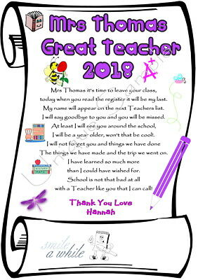 Gift Great Teacher / Teaching Assistant PERSONALISED THANK YOU A4 Laminated Card