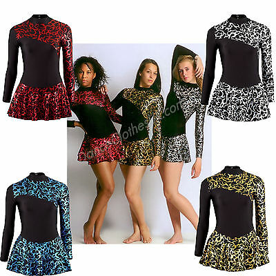 Girl's Womens Ice Skating Dress Metallic Gold Silver Red Blue Flame Lycra Fabric