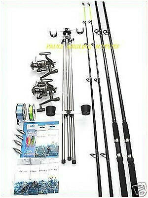 Sea Fishing Beachcaster Kit * 13 FT* Rods Reels Tripod  Tackle Weights Line