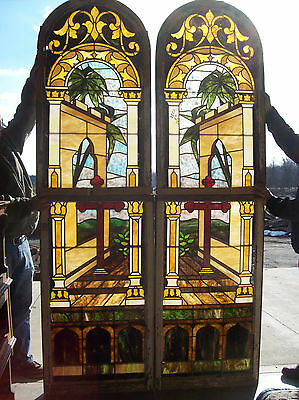 2 Beautiful Stained Glass Window Palm trees and cross (SG 1159)