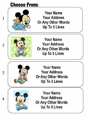 30 Disney Babies Mickey and Minnie Mouse Personalized Address Labels
