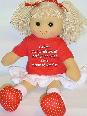 Personalised 40cm Rag Doll Bridesmaid Flower Girl Wedding Gift Red White Outfit