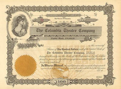 District of Columbia Theatre Company > Washington D.C. stock certificate
