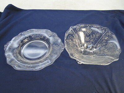 VINTAGE CAMBRIDGE GLASS DIANE ELEGANT ETCH PATTERN MAYONNAISE BOWL + UNDERPLATE