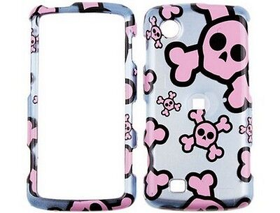 Solid Plastic Design Cover Silver and Pink Skull For LG Chocolate Touch VX8575