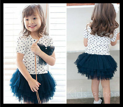 Girls 2 Piece Set White Navy Tutu Lace Skirt Top Dot Bow Party Dress Outfit 3-8