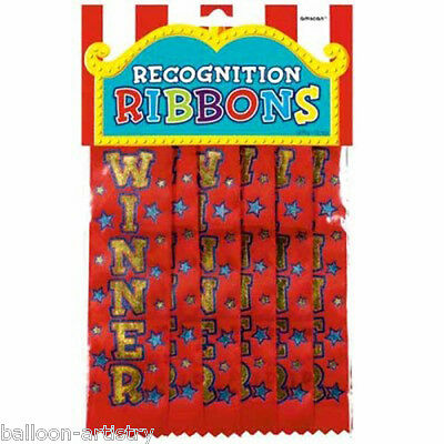 6 Classic Red WINNER Recognition Party Competition Award Ribbon Badges