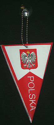 "Polish Polska Poland pennant mini NEW suction cup hanging glass or window 6"" in"