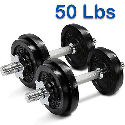 Yes4All 50 lb Adjustable Dumbbell Weight Set - Cast Iron Dumbbells
