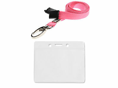 Plastic ID Badge Card Holder Pocket Wallet and Neck Strap Lanyard PICK A COLOUR!