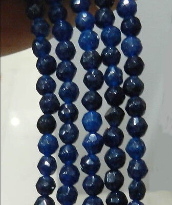 """4mm Faceted Deep Blue Sapphire Gemstone Loose Beads 15"""""""