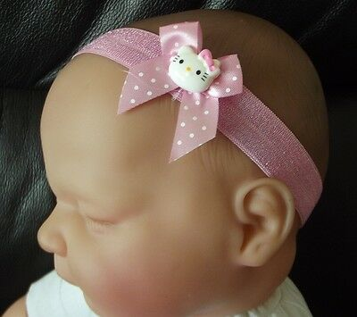 Baby Girl/reborn Doll  Pink Spotted Bow  Hello Kitty Headband