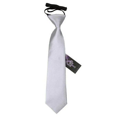 DQT Satin Plain Solid Silver Kids Elasticated Pre-Tied Page Boys Tie