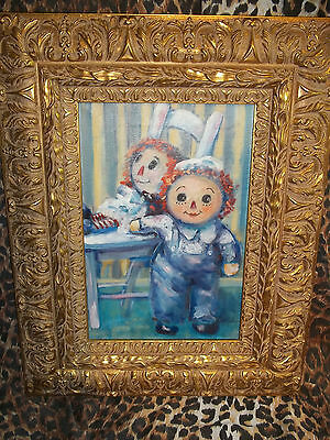 "ORIGINAL ""Sue Gallagher"" Raggedy Ann and Andy Museum Quality Oil Painting WOW"