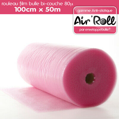 1 Rouleau de film bulle d'air ANTISTATIQUE 100cm x 50m